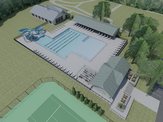 This rendering showcases the plan for Lakeside's Pool and Wellness Center.