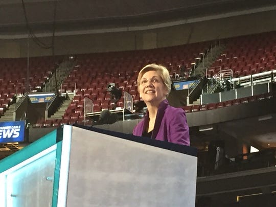 Massachusetts Sen. Elizabeth Warren prepares for her address at the Democratic National Convention on Monday morning.