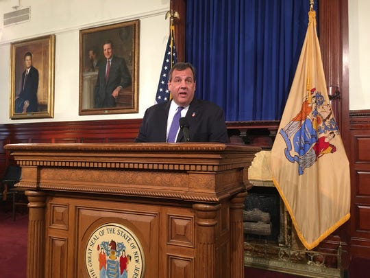 Christie speaks at a press conference in Trenton