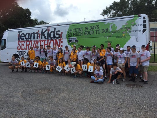Young people participating in Team Kids Servathon came through Indianapolis this week as part of a 14-day, 14-city tour to inspire philanthropy in youths.