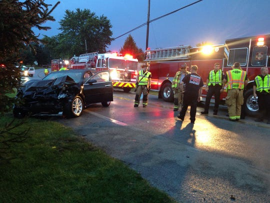 Crews respond to a car crash on Grandview Road in Penn