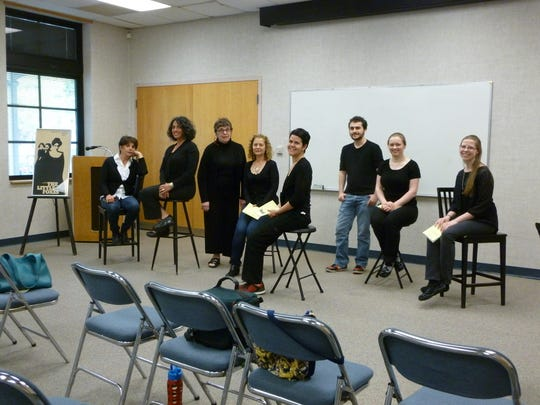 "Oldwick Community Players is casting a staged reading of the play ""Belles"" by Mark Dunn. The reading will be presented at the Warren Township Library in November. Pictured are members of the group in rehearsal."