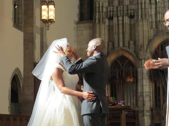 Kyle Stewart and Lauren Eldridge at their Chicago wedding.
