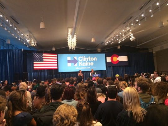 Northern Colorado state legislators Rep. Jeni Arndt and Sen John Kefalas speak before U.S. Sen. Bernie Sanders' planned rally Monday at Colorado State University's Lory Student Center in Fort Collins