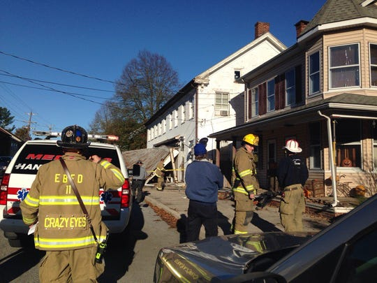 A vehicle crashed into a structure on West King Street in East Berlin Borough.