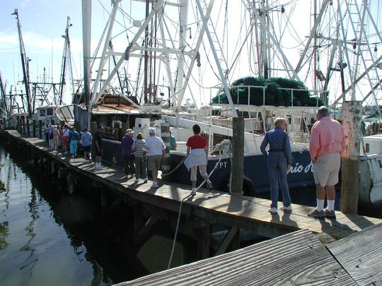 Visitors take part in  the Working Waterfront Tours given by the Ostego Bay Foundation's Marine Science Center.