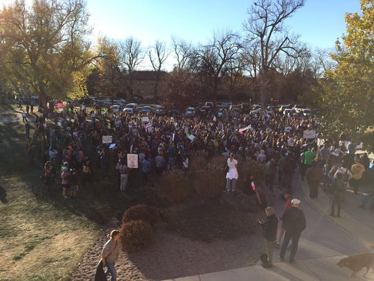 The crowd continues to grow on Saturday at City Park in Fort Collins. It is protesting the election of Donald Trump.