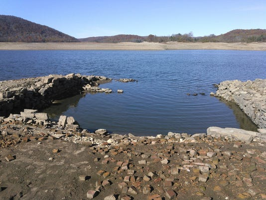 19th-century foundations of homes in Wanaque Reservoir.