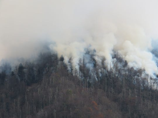 The Chimney 2 Fire was burning over some 500 acres in the Great Smoky Mountains National Park earlier this week.