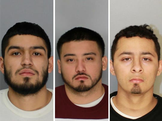 Ian Ray Hernandez (from left), Andrew Jorge Luis, and Domingo Villarreal were arrested Monday on suspicion of capital murder.