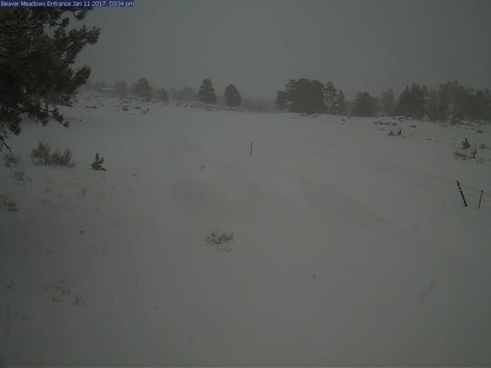 Snow covers the Beaver Meadows entrance to Rocky Mountain National Park on Wednesday.