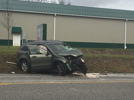Honda CR-V at the scene of a reported traffic accident on the 3400 block of York Road in Straban Township.