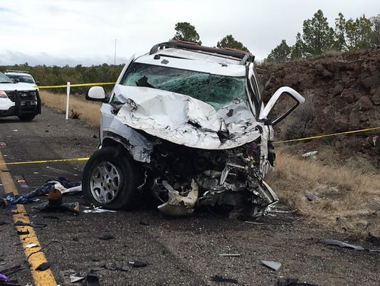 White SUV carjacked before collision with a semi