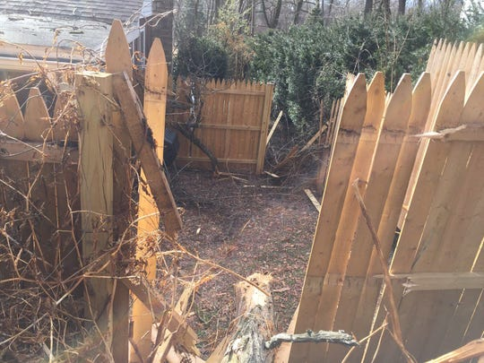 In the 200 block of Locust Drive, Fairview Township, a fallen tree smashed through a fence in two places.