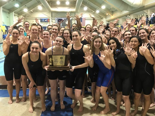 Immaculate Heart celebrating its Non-Public A state swimming championship on Sunday, Feb. 26, 2017.