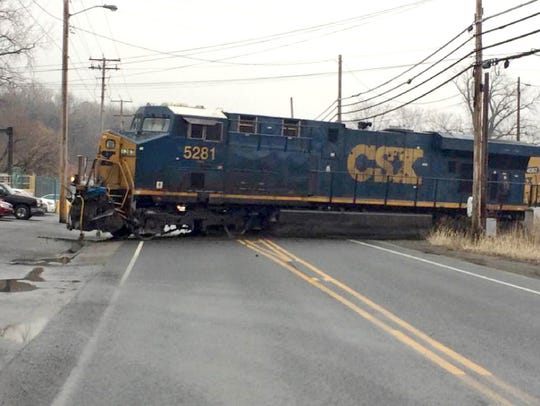 The lead locomotive of a CSX freight train blocking