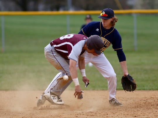 Shippensburg's Colton Zeigler steals second base during a Mid Penn Colonial Division game against Greencastle-Antrim on Wednesday, April 5, 2017 in Greencastle. The Blue Devils won 6-4.