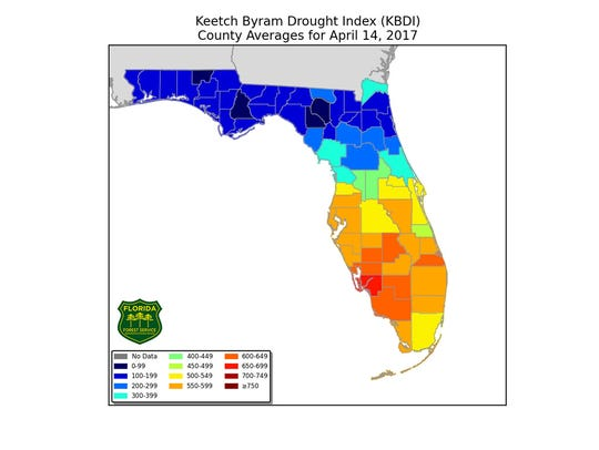 Keetch Byram Drought Index for April 14, 2017.