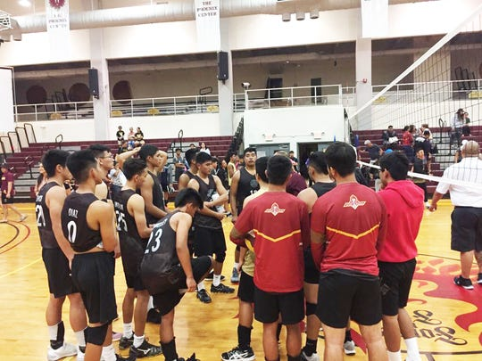 The FD Friars defeated the Okkodo Bulldogs in 3 sets, 2-1, of an IIAAG boys volleyball game April 25, 2017, at the Father Duenas Phoenix Center.