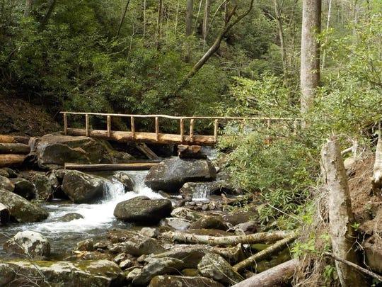 A foot bridge over Ramsey Prong has been installed