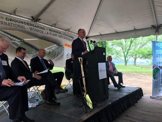 Gov. John Bel Edwards speaks at a groundbreaking event