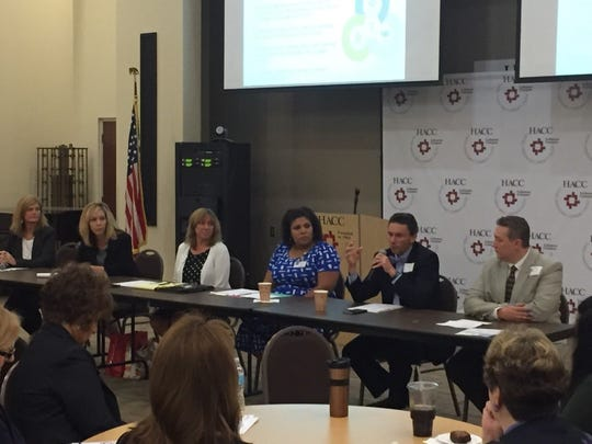 Wednesday's Workforce Alliance Summit included (from left) LVEDC President Susan Eberly, Lee Hitz-Miller of TempForce, Annville-Cleona Supt. Cheryl Potteiger, Shayla Thompson of PinnacleHealth, Regupol America President George Soukas and Nathan Bryner of Bell & Evans.