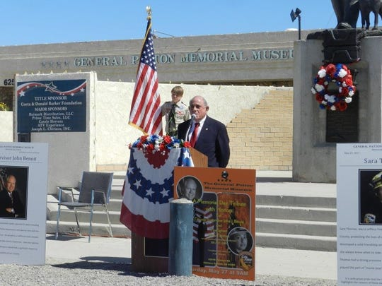 Steve Brown, seen here speaking at a Memorial Day tribute at the General Patton Memorial Museum,  will serve out the remainder of V. Manuel Perez's term on Coachella City Council.