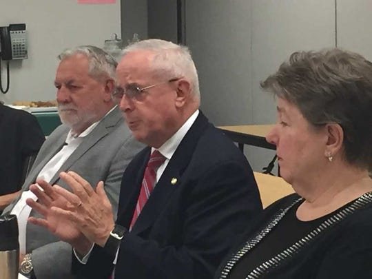 State Rep. Frank Ryan (center) makes a point as Lebanon County commissioners Bill Ames and Jo Ellen Litz listen during Friday's legislative round table at the Lebanon County Conservation District.