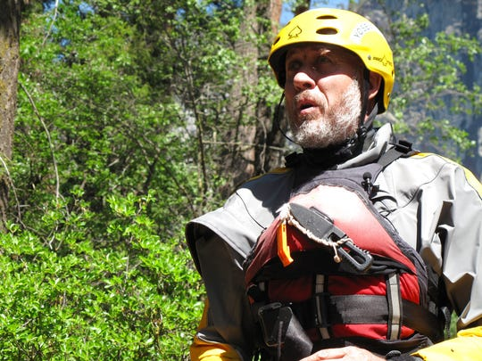 This photo taken May 25, 2017 shows Moose Mutlow, leader of the Swift Water Rescue Program at Yosemite National Park, Calif.