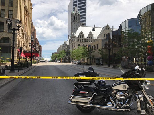 Part of Wisconsin Ave. in front of federal courthouse is blocked off following the arrest of a man Thursday after he threatened security officers at the federal courthouse and said he had a bomb.