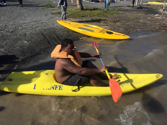 Cesar Ruiz gives the kayak a spin on Lake Albano in