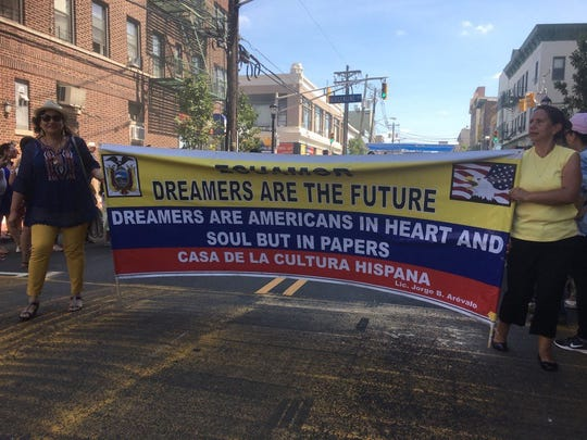 A banner supporting Dreamers, young immigrants who came to the country as children and do not have legal permanent residency, displayed during the Ecuadorian Parade of New Jersey held in Union City on Aug. 13.