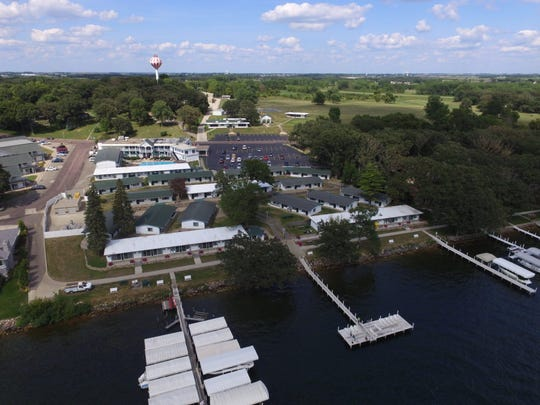 An aerial view of The Inn at Okoboji, a 155-room, historic,
