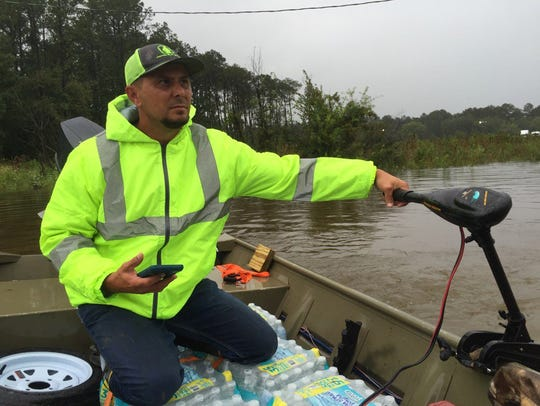John Billiot of America's Cajun Navy is seen in this file photo coordinating volunteer rescue efforts in Houston after Hurricane Harvey in August 2017.