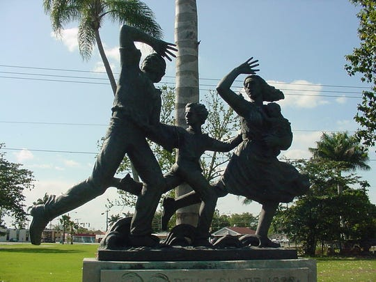 A statue in Belle Glade, Florida commemorating the