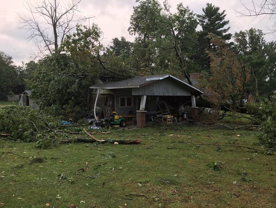 Storm damage to a home owned by Sherri Hager on Stiving