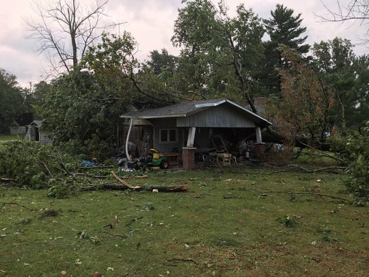 Storm damage to a home owned by Sherri Hager on Stiving Road.