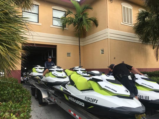Marco Island Police Department officers prepare Jet Skis in anticipation of severe flooding from Hurricane Irma. Hurricane Irma made landfall on Marco Island on Sunday, Sept. 10, 2017.