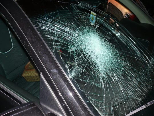 The windshield of the car Roberts smashed.