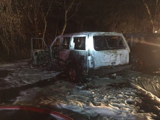 The aftermath of a car fire in Oradell Nov. 22, 2017.