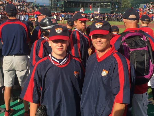 Baden, left, and Troy Biddle at a baseball event.