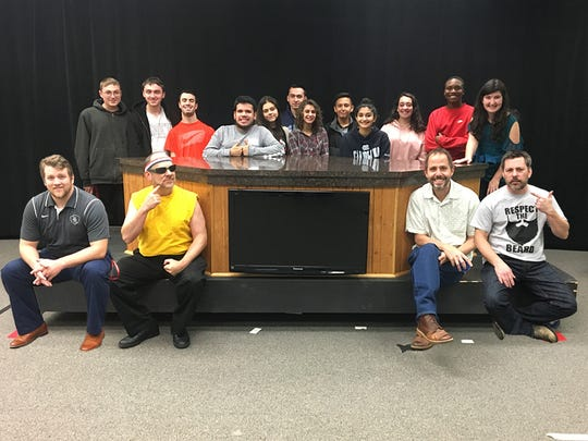 The four NovemBeard contestants and some students members of BRTV. Front row (from left) Mr. Dan Kavanagh, Mr. Steve Rubin, Mr. Scott Strungis and Mr. Keith Shapiro; back row (from left) DJ Berchoff, Jack Berchoff, Chazz DiBianco, Danny Castro, Bella Ardila, Kevin Diaz, Dana Zeller, Brandon Narvaezzi, Sanya Bhatia, Elisa Tarbell, Justin Hawthorne and Abby Puszkin.