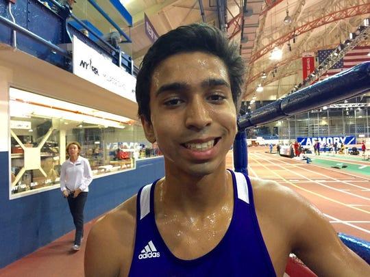 New Rochelle's Matt Jacob after running 10:02.12 to win boys 3,200 Section 1 Kick Off 1 race.