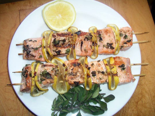 Spiced Salmon Kebabs are great for a party.