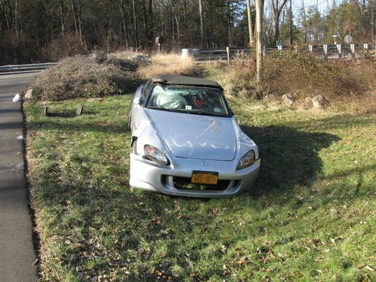 A New York City woman was injured Dec. 26 after her vehicle left the roadway, struck two boulders and overturned in Tewksbury.