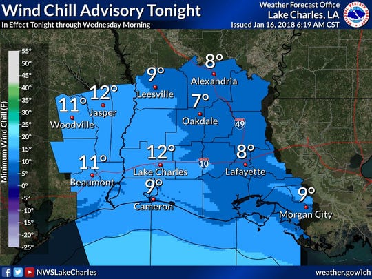 Wind chill advisory for our area tonight.