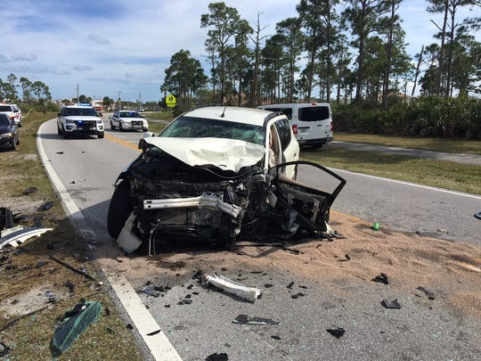 A white Nissan, driven by Margaret Smith, 57, of Port St. Lucie veered left of center and struck two other vehicles Sunday afternoon.