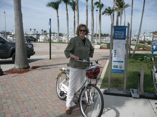 Fort Pierce Mayor Linda Hudson encourages residents and tourists to tour downtown by bike, thanks to St. Lucie County's new bike share program.