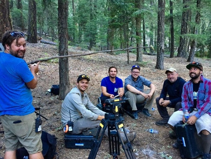 A film crew works on a production made in part in Redding