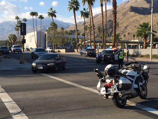 Traffic is diverted from Indian Canyon Drive to Ramon Road after a two-car collision Thursday morning in Palm Springs.